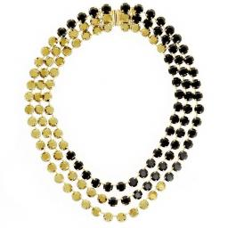 Three-Layered Jet Black and Dorado Necklace