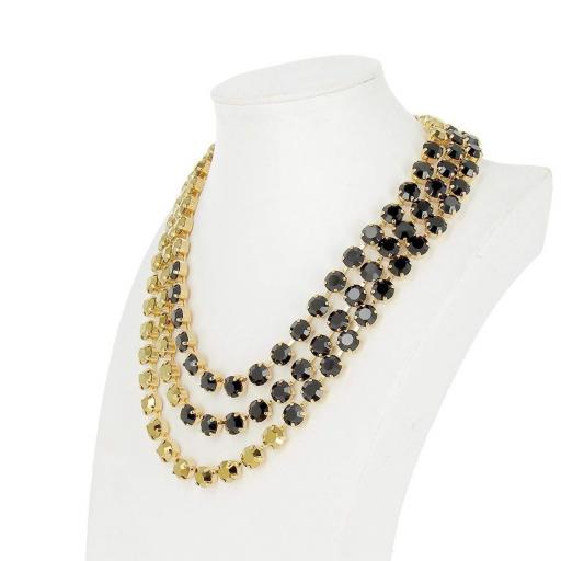 Three-Layered Jet and Black Diamond Necklace