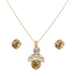 Crystal Stud Gold Plated Earrings And Necklace Set
