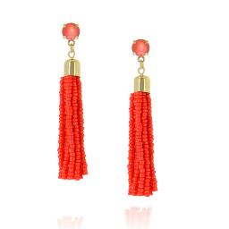 Halley Coral Tasseled Earrings