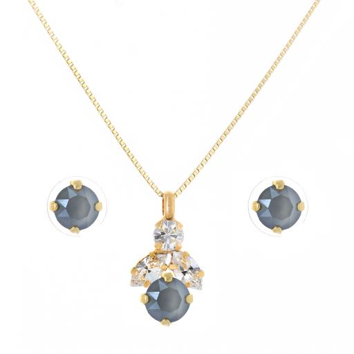 Crystal Stud Earrings And Necklace Set