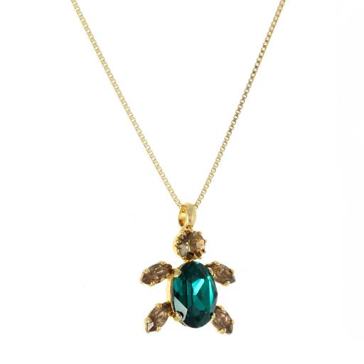 Crystal Turtle Gold Plated Necklace