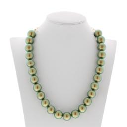 IRIDESCENT GREEN Necklace 16mm Krystal London maniquin front on.jpg