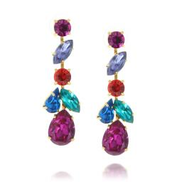 crystal krystal london drop earring multicoloured Evra front on