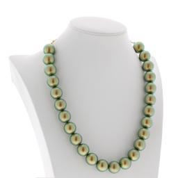 IRIDESCENT GREEN Necklace 16mm Krystal London maniquin side on.jpg