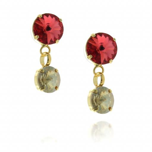 2 Tier rovoli earrings Nuha Red rain drops far krystal london SIDE on.jpg