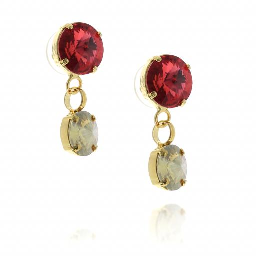 2 Tier rovoli earrings Nuha Red rain drops far krystal london far side on.jpg