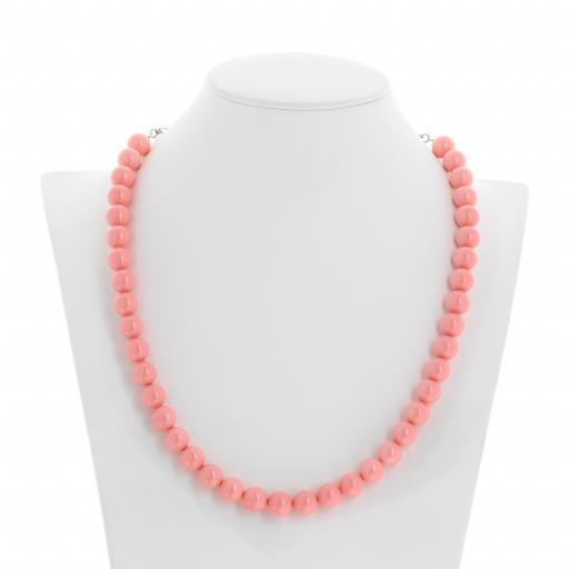 Pink Coral Pearl Necklace 10mm Krystal front on London_.jpg
