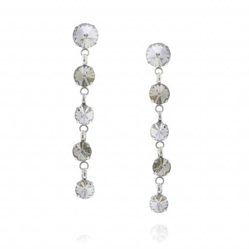5 Tier rovoli earrings Hina Red white clear drops far krystal london Front on.jpg