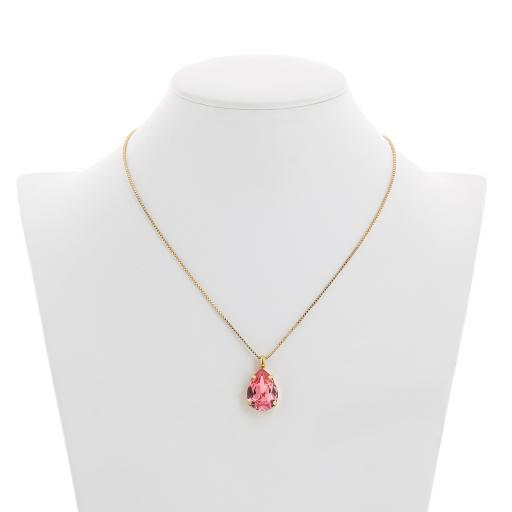 Peach Rose Necklace-Crystal Swarvoski Front On.jpg
