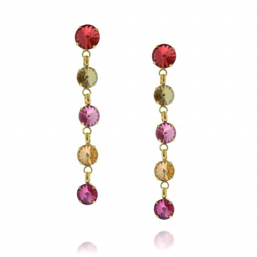 5 Tier rovoli earrings Hina Red rain drops far krystal london Front on.jpg
