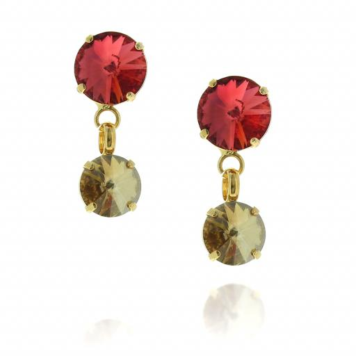 2 Tier rovoli earrings Nuha Red rain drops far krystal london front on.jpg