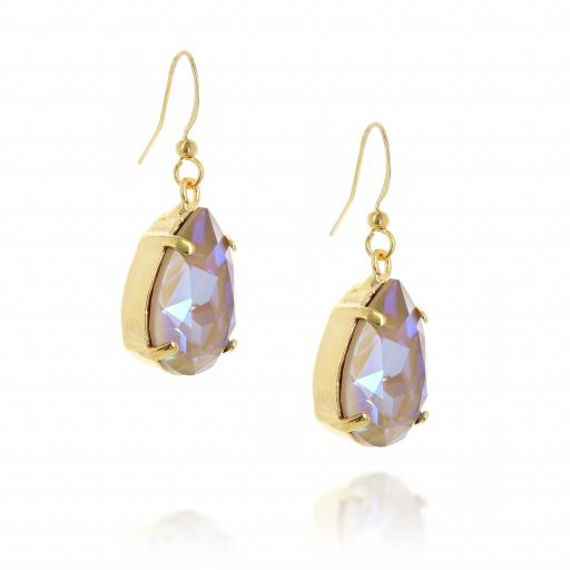 Shimming crystal swarovski pear hooked earrings FAR SIDE on.jpg