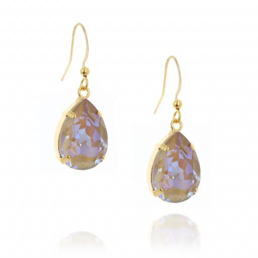 Shimming crystal swarovski pear hooked earrings side on.jpg