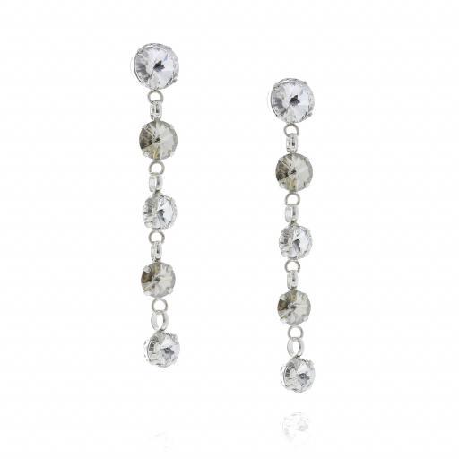 5 Tier rovoli earrings Hina Red white clear drops far krystal london side on.jpg
