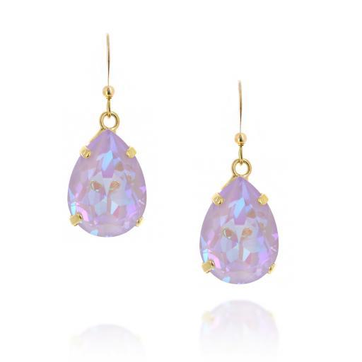 Pear drop Shimmering Earrings front on crystal.jpg