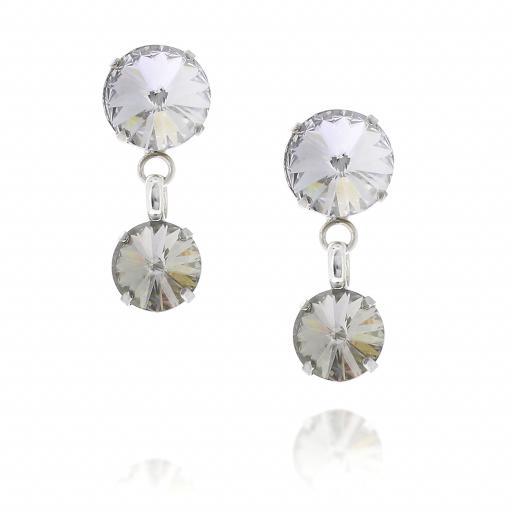 2 Tier Mini Nuha rovoli earrings white clear drops far krystal london front on.jpg