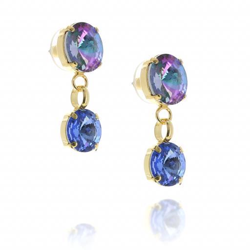 2 Tier Mini Nuha rovoli earrings purple rain drops far side on.jpg