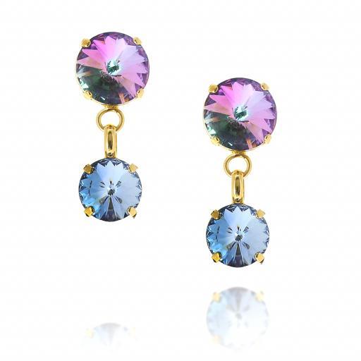 2 Tier Mini Nuha rovoli earrings purple rain drops front on.jpg