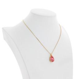 Peach Rose Necklace-Crystal Swarvoski side on.jpg