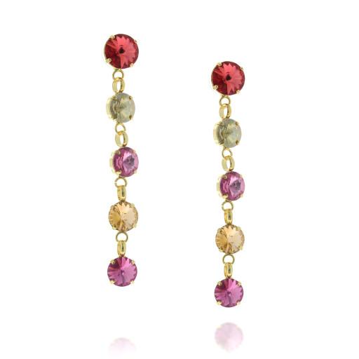 5 Tier rovoli earrings Hina Red rain drops far krystal london side on.jpg