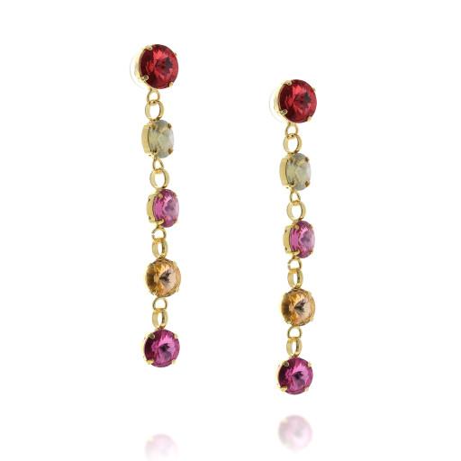 5 Tier rovoli earrings Hina Red rain drops far krystal london far side on.jpg