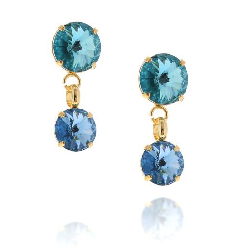 2 Tier mini nuha rovoli earrings Hina rain drops far krystal london far side on.jpg