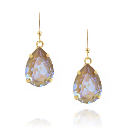 Shimming crystal swarovski pear hooked earrings front on.jpg