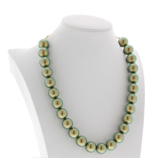 IRIDESCENT GREEN Necklace 16mm Krystal London maniquin far side on.jpg