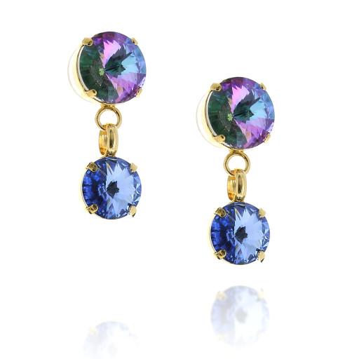 2 Tier Mini Nuha rovoli earrings purple rain drops side on.jpg