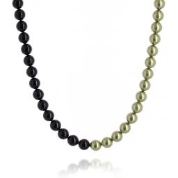crystal Jet black and Pastel Green pearl necklace 10mm pearls only.jpg