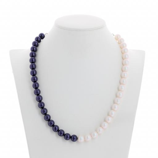Two tone Jet Dark Lapris and Pearlescent white Pearl Necklace 10mm KrystalLondon front on.jpg