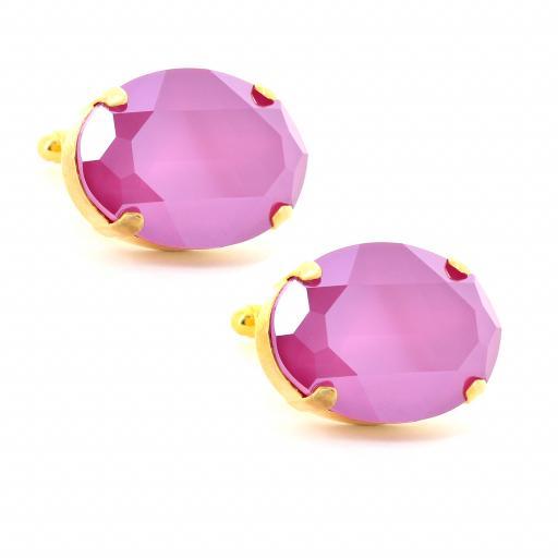 mens fushia and gold plated oval Krystal lonson swarovski crystals cuff links side on.jpg