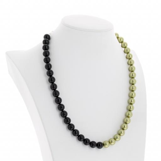 crystal Jet black and Pastel Green pearl necklace 10mm side on.jpg