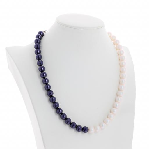 Two tone Jet Dark Lapris and Pearlescent white Pearl Necklace 10mm KrystalLondon side on.jpg