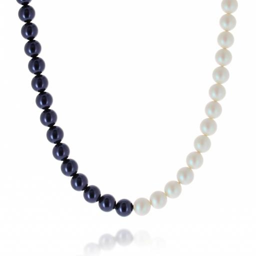 Two tone Jet Dark Lapris and Pearlescent white Pearl Necklace 10mm KrystalLondon pearls only.jpg