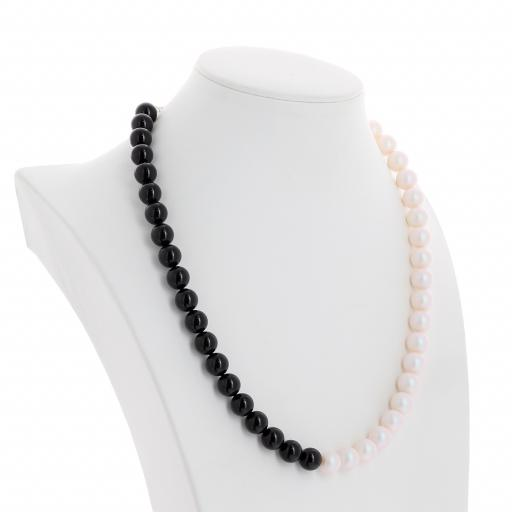 Two tone Jet Black Crystal Pearlescent white Pearl Necklace 10mm KrystalLondon far side on.jpg