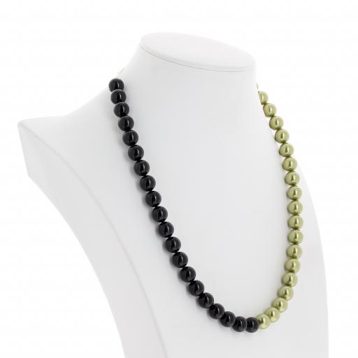 crystal Jet black and Pastel Green pearl necklace 10mm far side on.jpg
