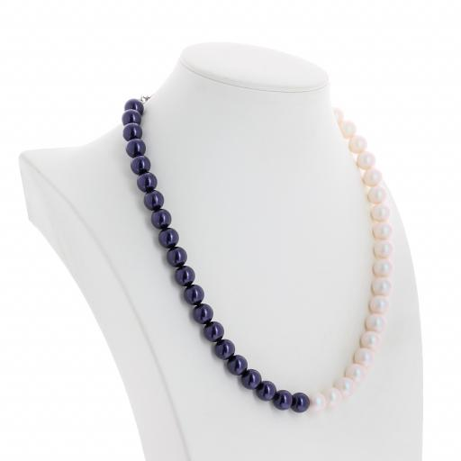 Two tone Jet Dark Lapris and Pearlescent white Pearl Necklace 10mm KrystalLondon far side on.jpg