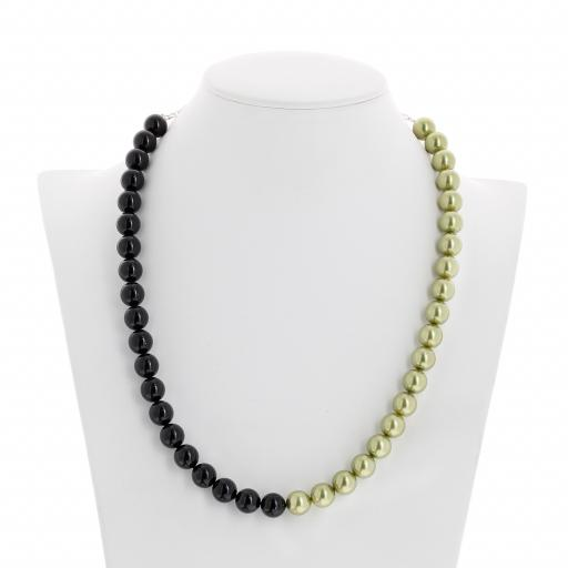 crystal Jet black and Pastel Green pearl necklace 10mm front on.jpg