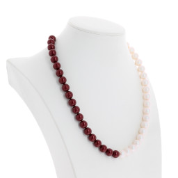 crystal red coral and pearlescent white necklace pearl 10mm far side on.jpg