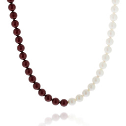 crystal red coral and pearlescent white necklace pearl 10mm pearls only.jpg