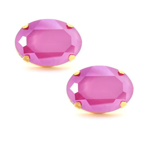 mens fushia and gold plated oval Krystal lonson swarovski crystals cuff links Front on.jpg