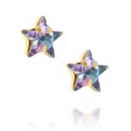 smalll star purple rainbow earrings Krystal London Gold Plated Swarovski side on.jpg