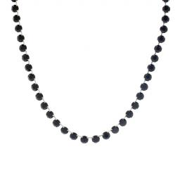 Bespoke Chunky Single strand swarovski crystal necklace Krystal jet black silver plated necklace only.jpg