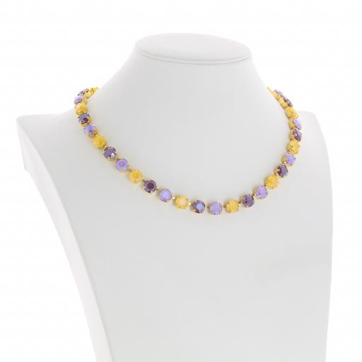 Bespoke Chunky Single strand swarovski crystal necklace Krystal  yellow purple side on.jpg