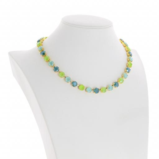 Bespoke Chunky Single strand swarovski crystal necklace Krystal  multi colour mix side on.jpg