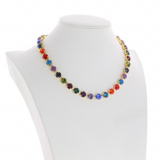 Bespoke Chunky Single strand swarovski crystal necklace Krystal  multi colour mix side on.jpg