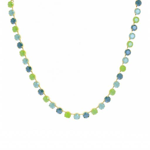 Bespoke Chunky Single strand swarovski crystal necklace Krystal  Green multi mix.jpg