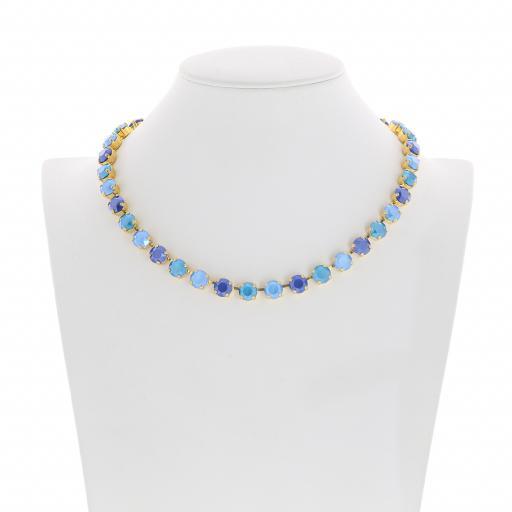 Bespoke Chunky Single strand swarovski crystal necklace Krystal Blue multi colour mix Front on.jpg